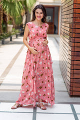 Serene Peach Luxe Maternity Dress