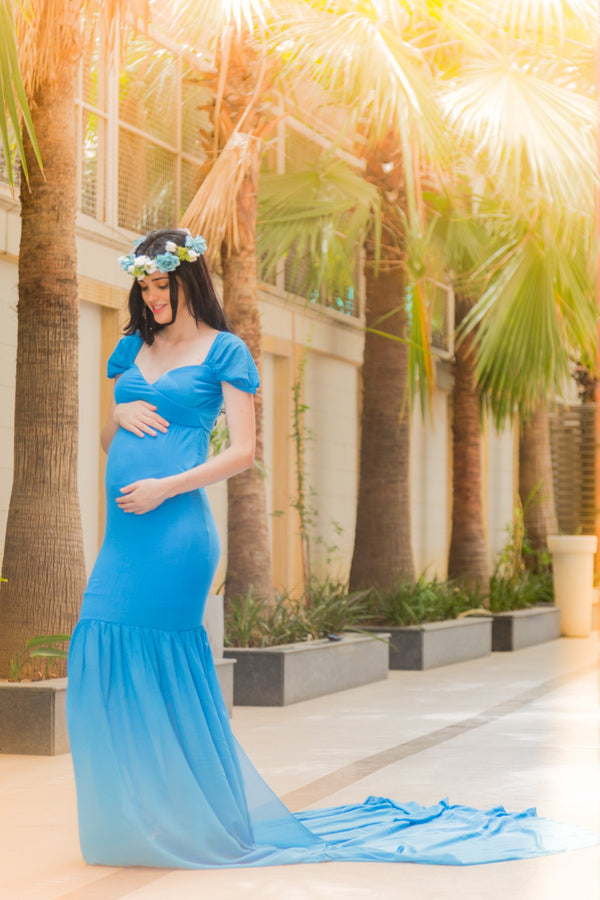 Exclusive Pristine Blue Maternity Photoshoot Gown