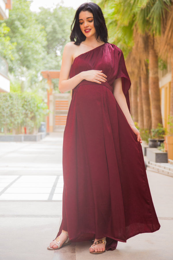 Luxe Red Berry One Shoulder Floral Maternity Gown