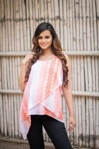 Coral Layered Maternity Top