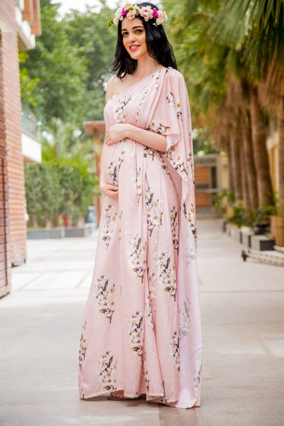 Luxe Carnation Pink One Shoulder Floral Maternity Gown - MOMZJOY.COM