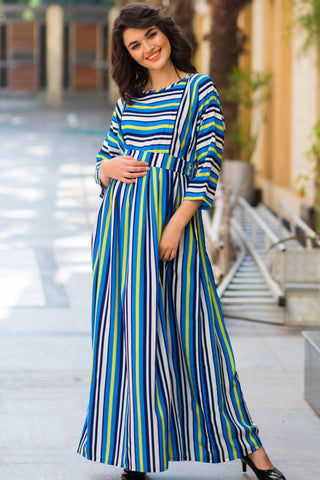 Lime Ice Stripe Concealed Zip Maternity & Nursing Maxi