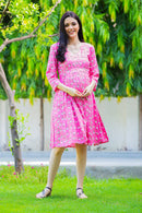 Pink Concealed Zips Maternity and Nursing Dress