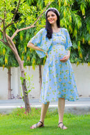 Sky Blue Maternity & Nursing Flap Dress