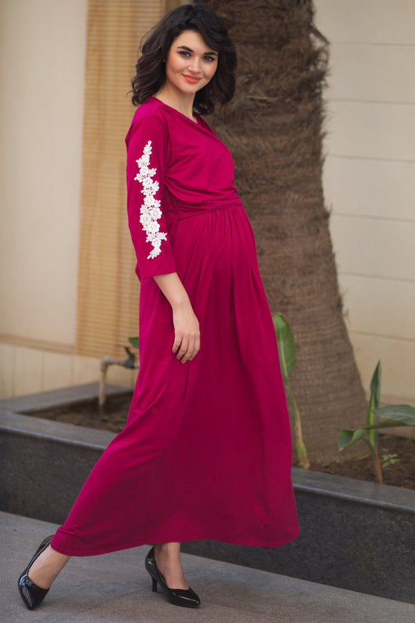 Elegant Carnation Crochet Maternity & Nursing Wrap Dress - MOMZJOY.COM