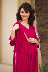 Elegant Carnation Crochet Maternity & Nursing Wrap Dress