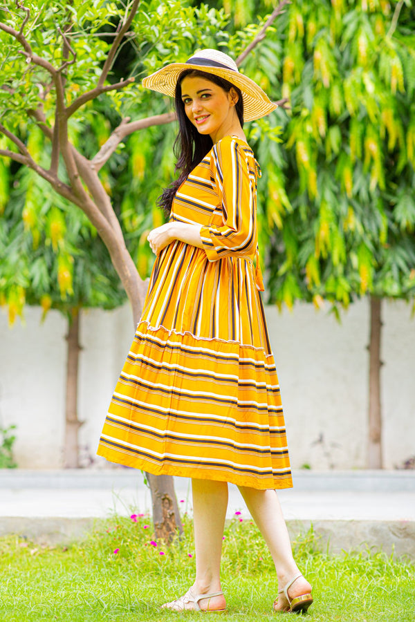 Canary Stripe Maternity & Nursing Dress