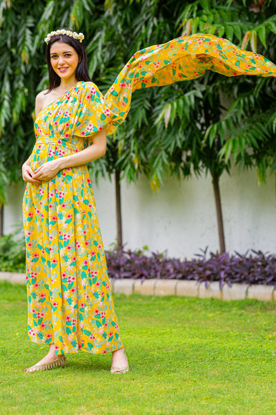 Luxe Cheery One Shoulder Floral Maternity Gown
