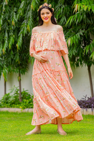 Dreamy Peach Off-Shoulder Maternity Maxi Dress