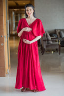 Exquisite Candy Red Maternity & Nursing Dress