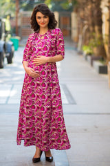 Pink Matte Side Slit Maternity & Feeding Dress