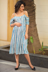 Fresh Stripe Front Zip Maternity & Nursing Maxi Dress