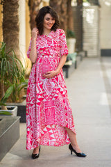 Cosmo Pink Abstract High-Low Maternity & Nursing Wrap Dress