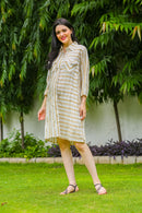 Beige Striped Maternity & Nursing Shirt Dress