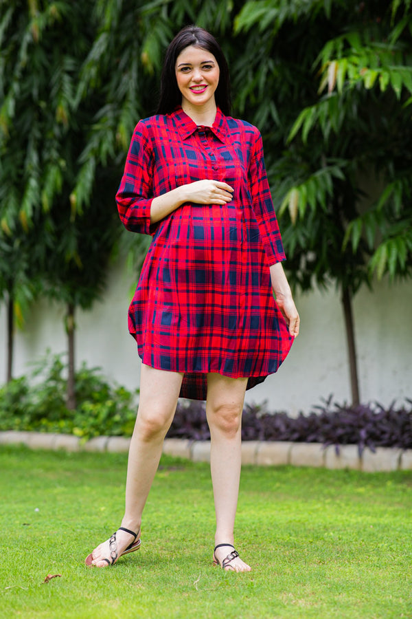 Merry Plaid Maternity & Nursing Shirt Dress