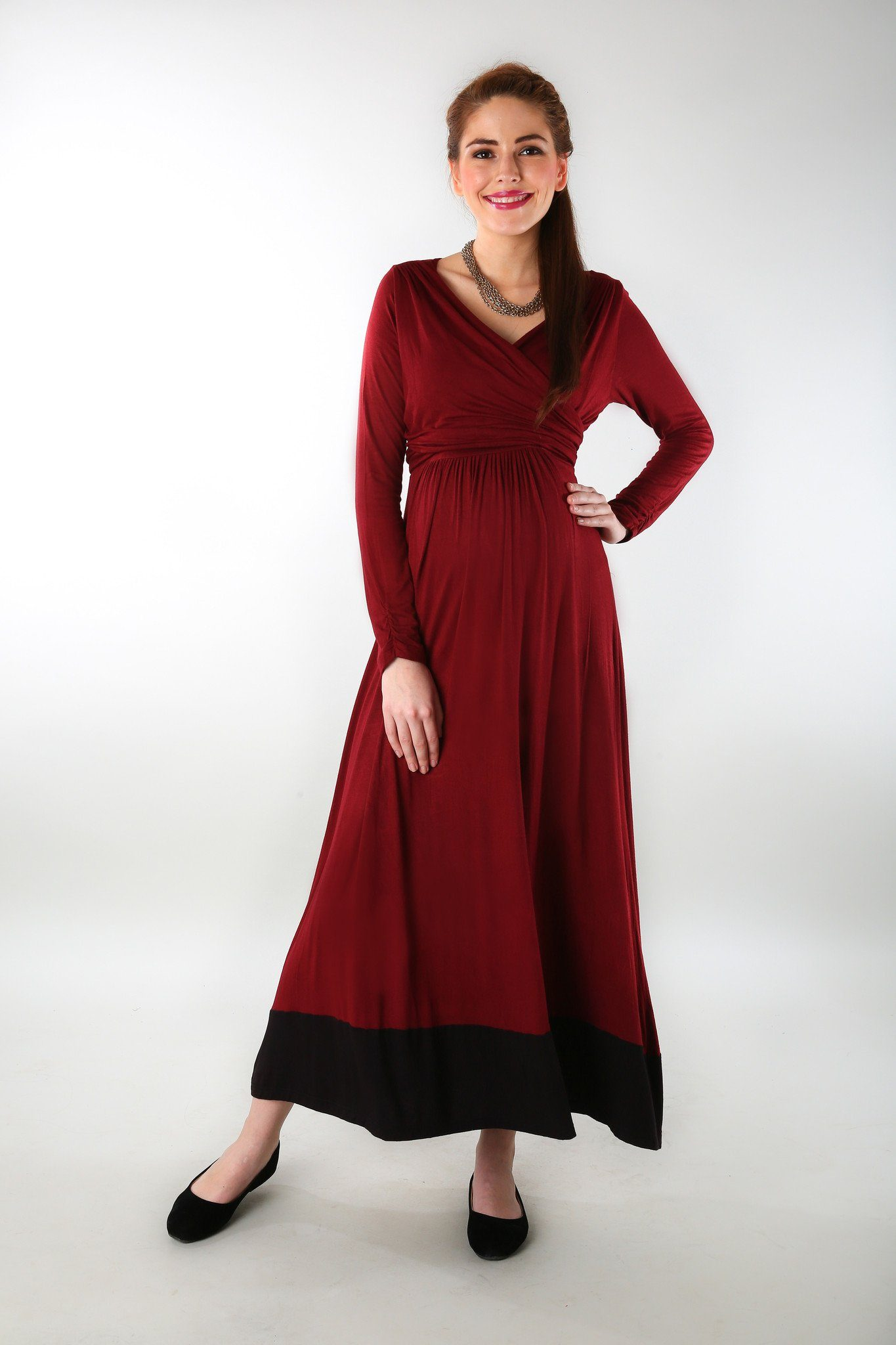 Elegant Wine Front Wrap Maternity Dress - MOMZJOY.COM - 3