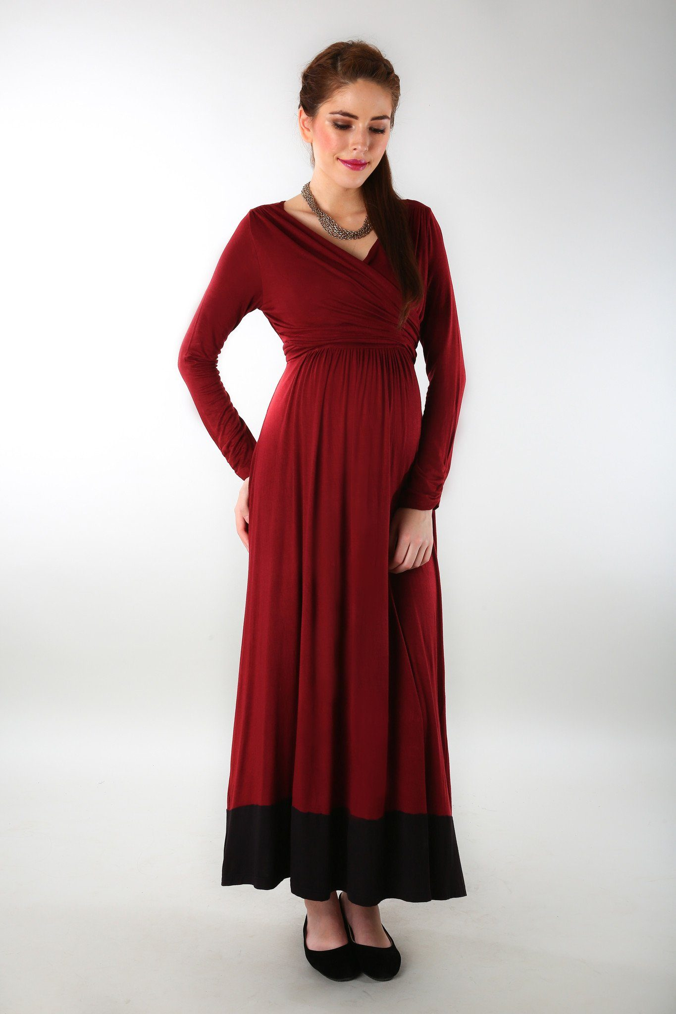 Elegant Wine Front Wrap Maternity Dress - MOMZJOY.COM - 4