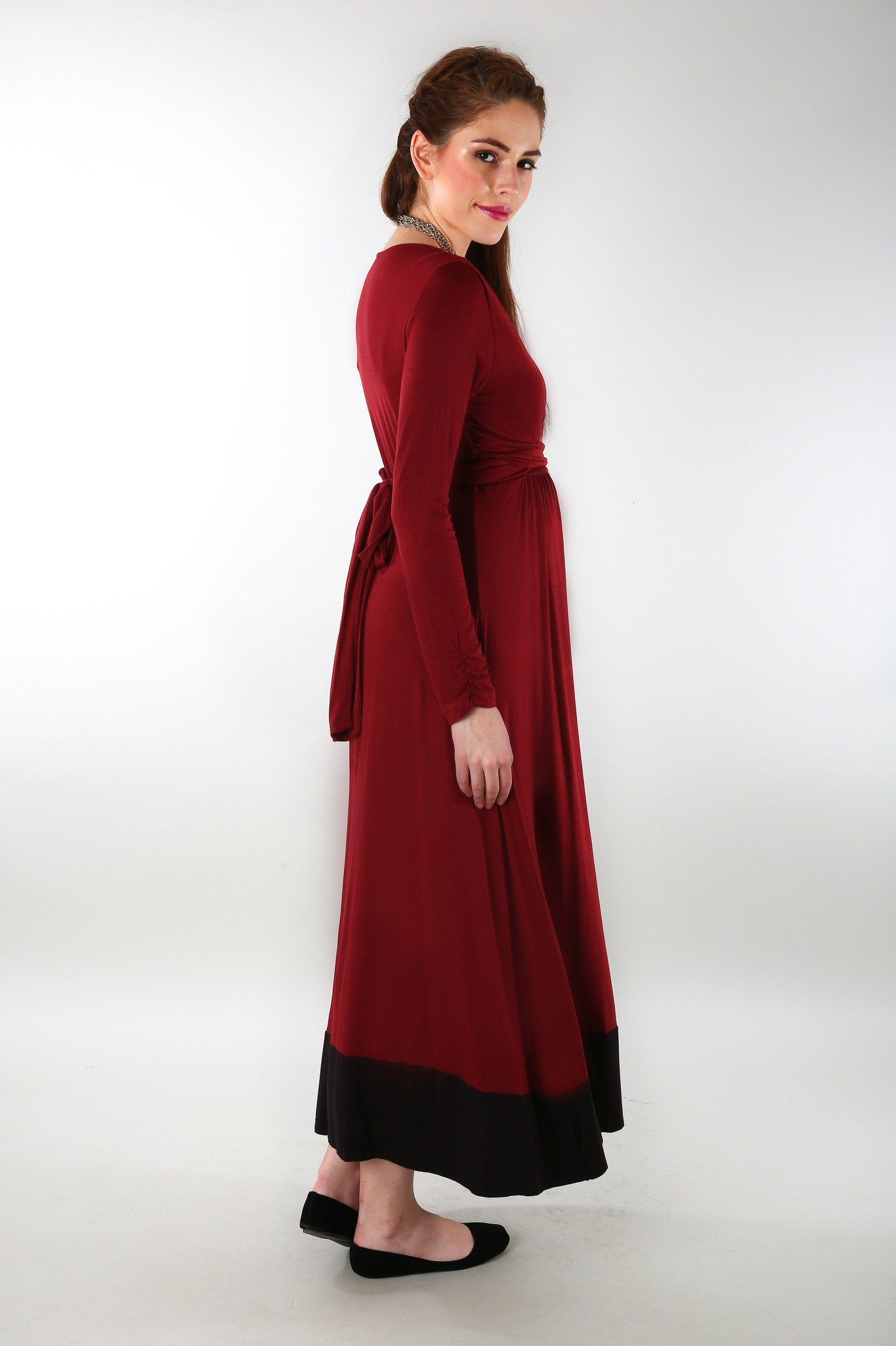 Elegant Wine Front Wrap Maternity Dress - MOMZJOY.COM - 2