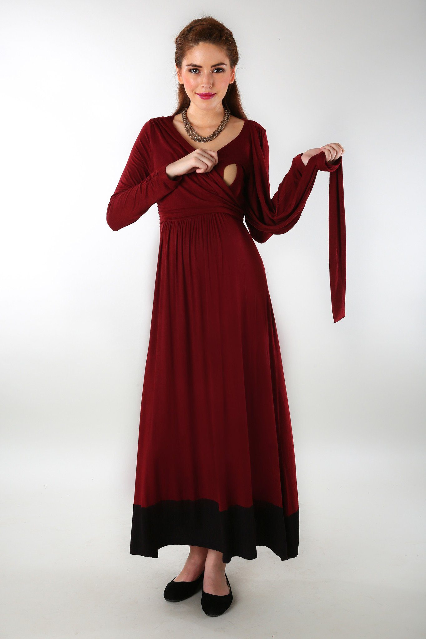 Elegant Wine Front Wrap Maternity Dress - MOMZJOY.COM - 1