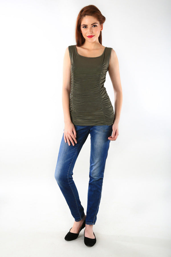 Gathered Olive Maternity Tank Top - MOMZJOY.COM