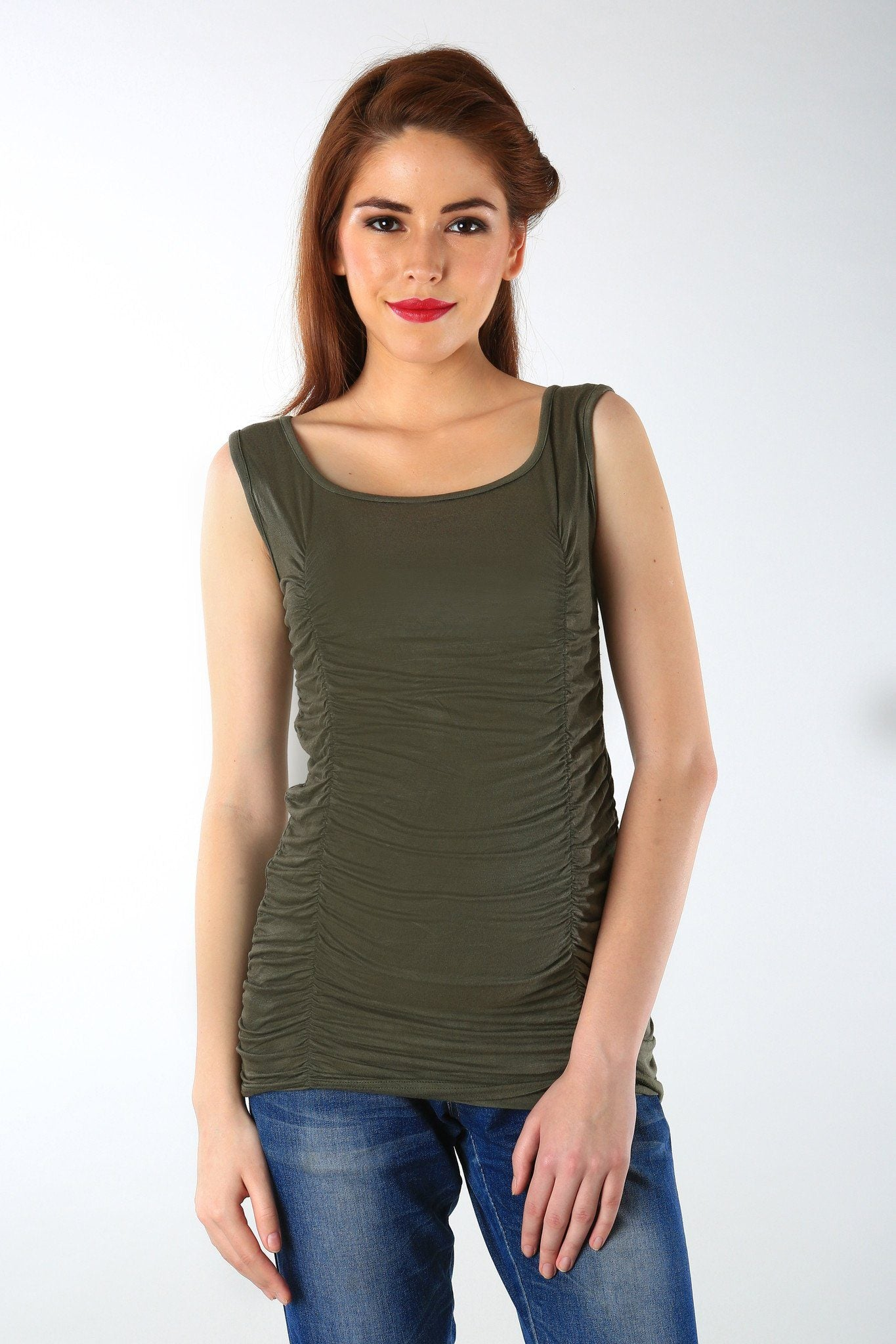 Gathered Olive Maternity Tank Top - MOMZJOY.COM - 2