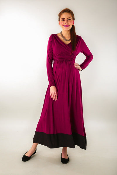 Elegant Mulberry Wine Front Wrap Maternity & Nursing Dress - MOMZJOY.COM