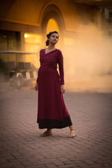 Elegant Wine Front Wrap Maternity Dress - MOMZJOY.COM - 5
