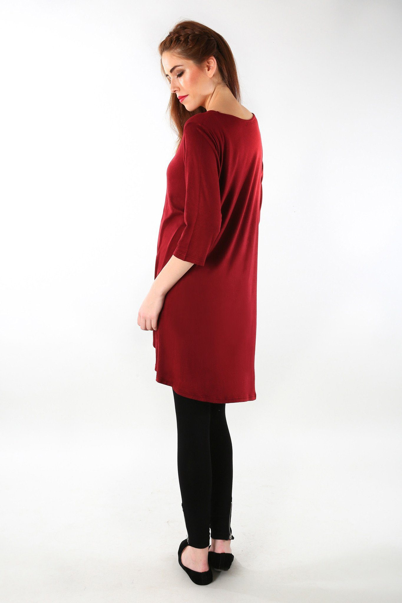 Burgundy Front Short Maternity Top - MOMZJOY.COM - 5