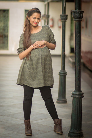 Elbow Sleeve Forest Green Maternity Top
