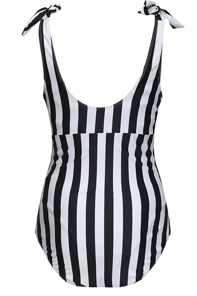 Sleek Striped Maternity Swimsuit - MOMZJOY.COM