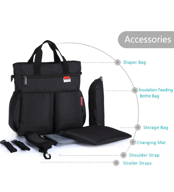 Charcoal Grey Multifunctional Travel Diaper Bag - MOMZJOY.COM
