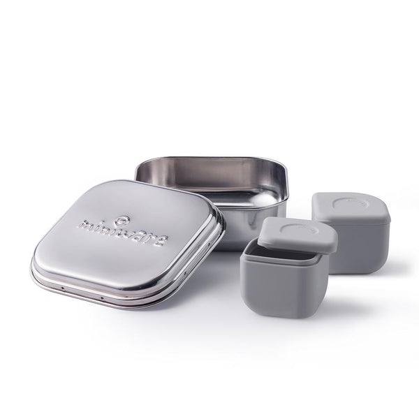 Chrome Grey-Miniware Grow Bento +2 Silipods Lunch Box - MOMZJOY.COM