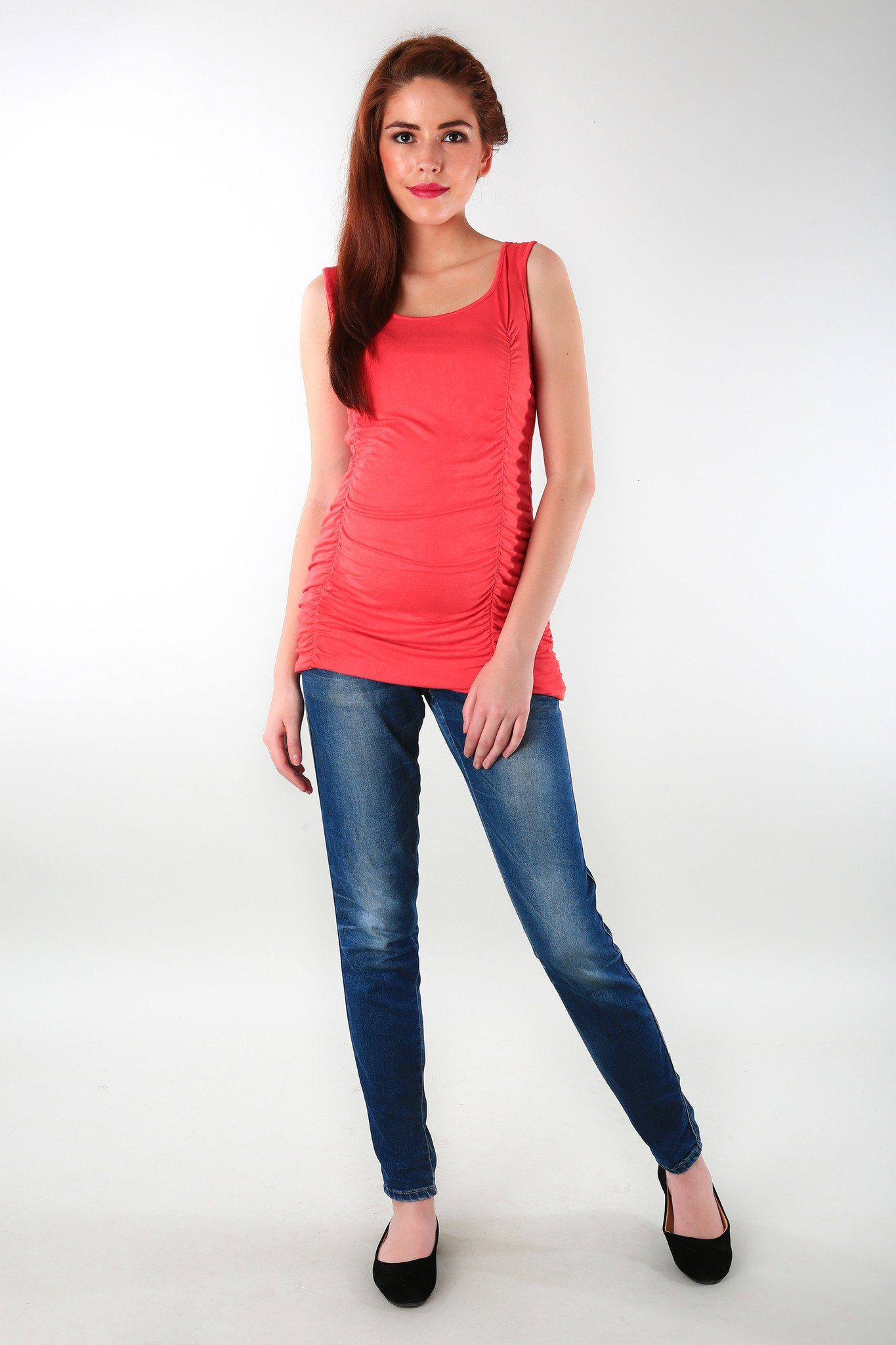 Gathered Coral Maternity Tank Top - MOMZJOY.COM - 1