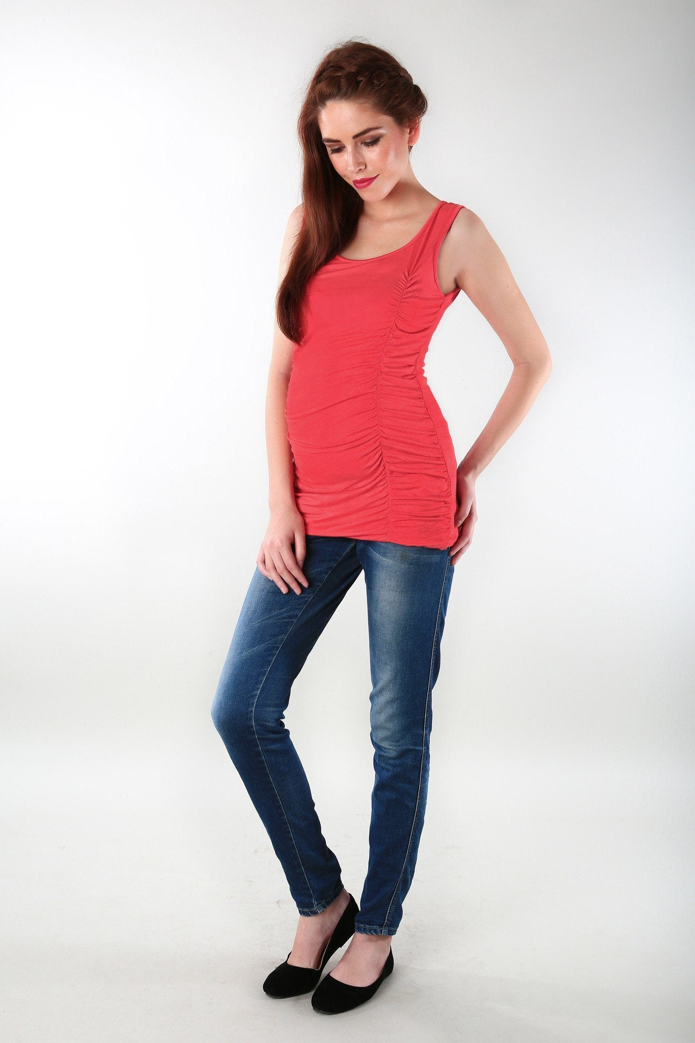 Gathered Coral Maternity Tank Top - MOMZJOY.COM - 2