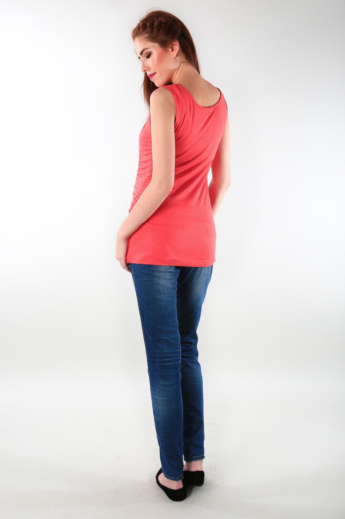 Gathered Coral Maternity Tank Top - MOMZJOY.COM - 3