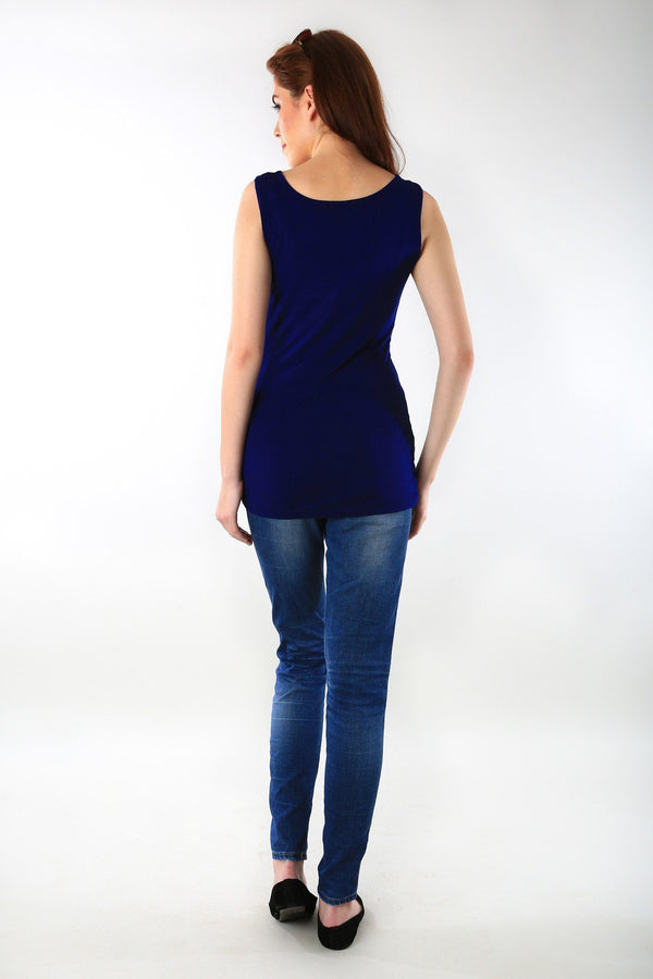 Gathered Deep Blue Maternity Tank Top - MOMZJOY.COM