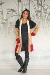 Long Color Block Maternity Cardigan