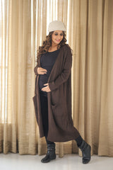 Longline Chocolate Brown Maternity Cardigan