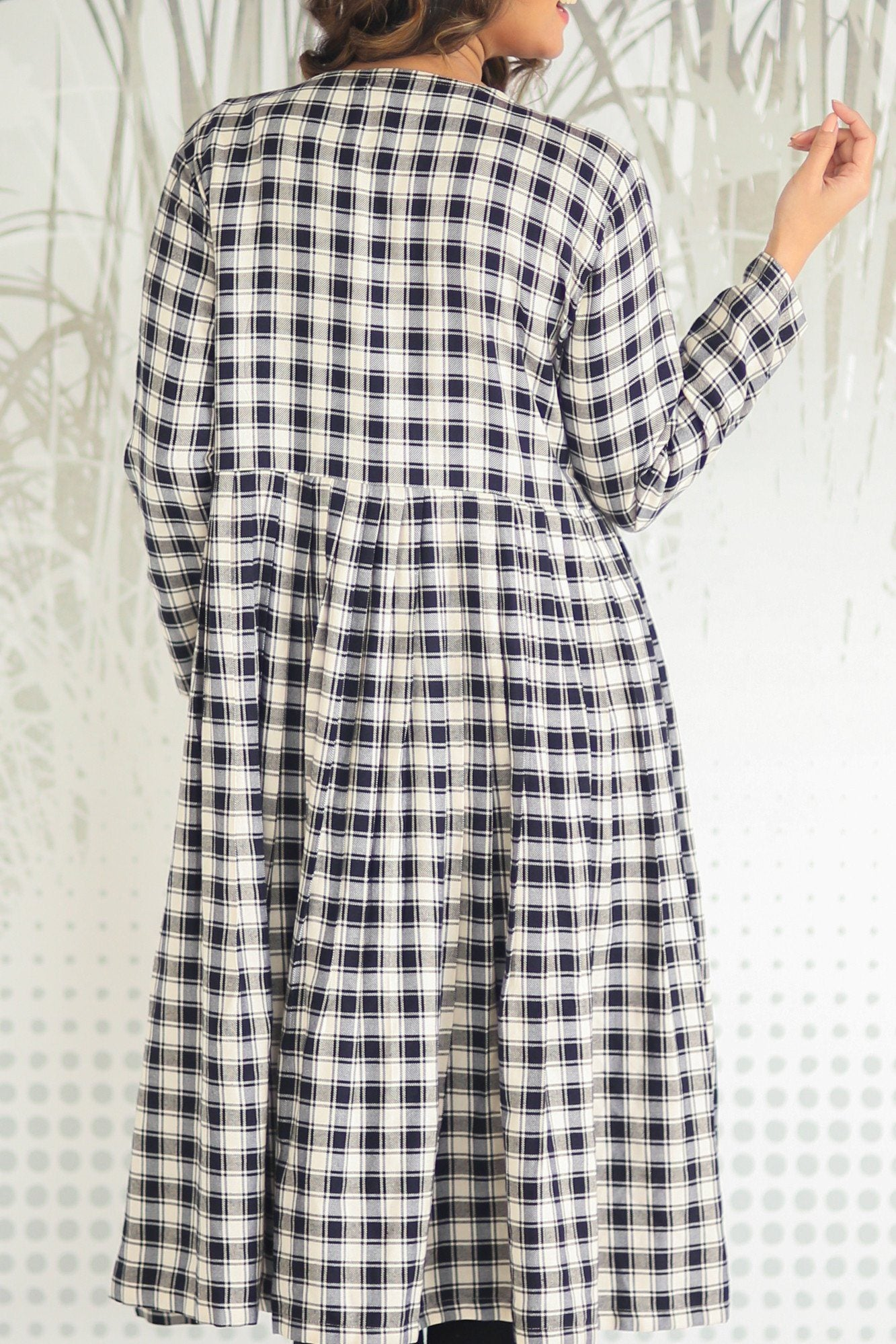 Gathered Plaid Maternity Cover Up