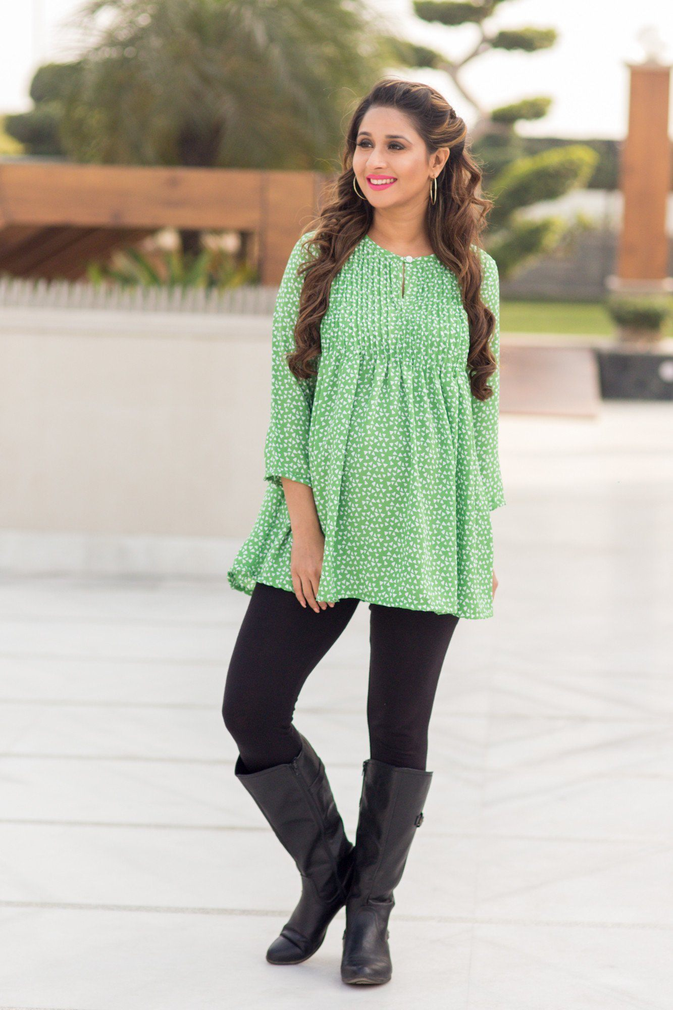 Spring Green Concealed Zip Nursing Top