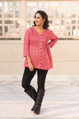 Rose Pink Pintucks Maternity Top