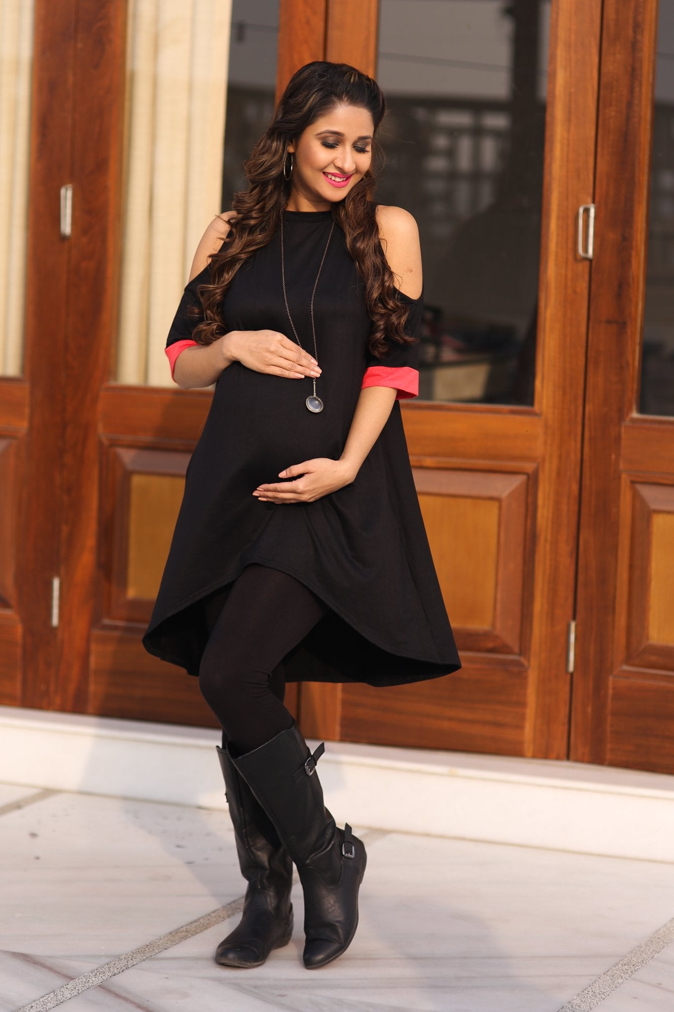 Classic Black Cold Shoulder Maternity Top