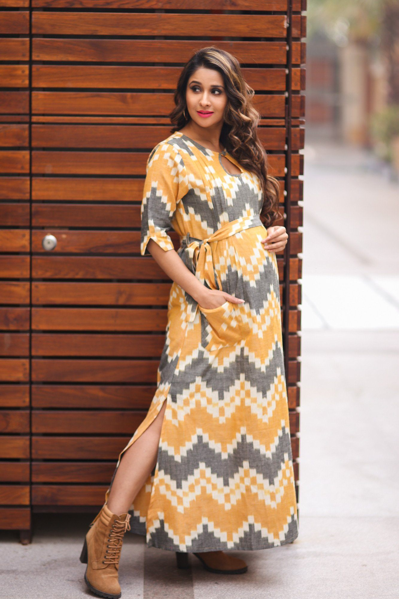 Ikat Side Slit Nursing Dress