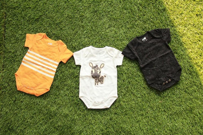 Baby White Zebra Bodysuit Combo (0-24 months) (Set of 3) - MOMZJOY.COM