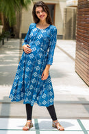 Blue Moonflower Maternity & Nursing Kurta - MOMZJOY.COM