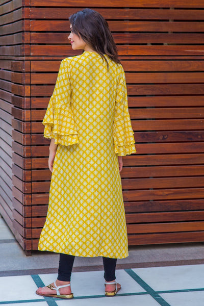 Lime Yellow Tiered Bell Sleeves Maternity & Nursing Kurta