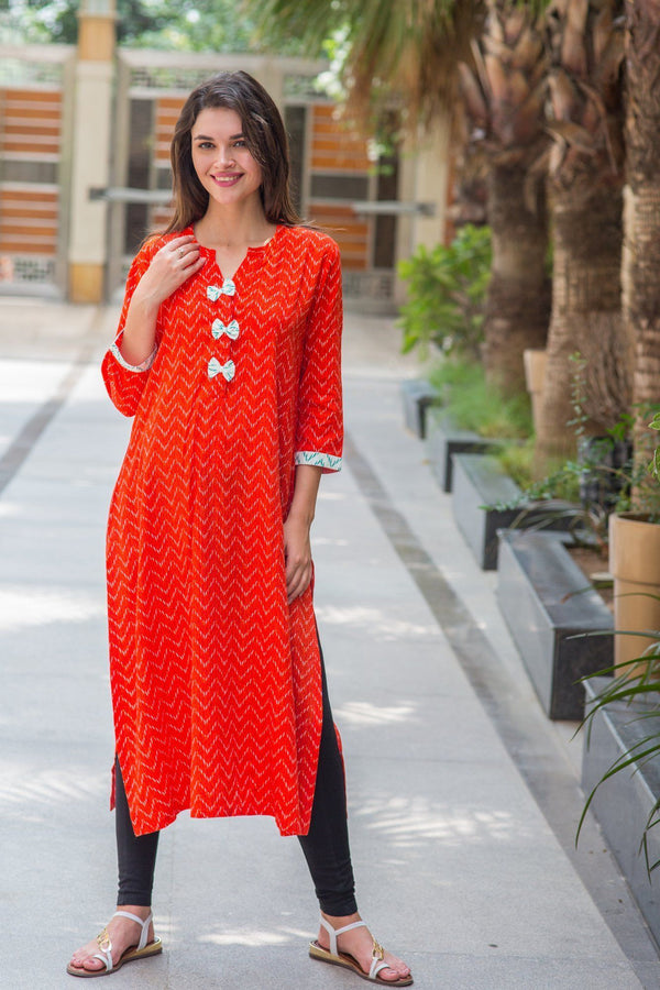 Apricot Orange Patterned Maternity & Nursing Kurta - MOMZJOY.COM