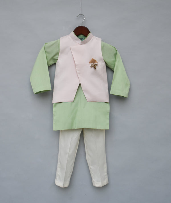 Light Peach Nehru Jacket with Kurta & Pant