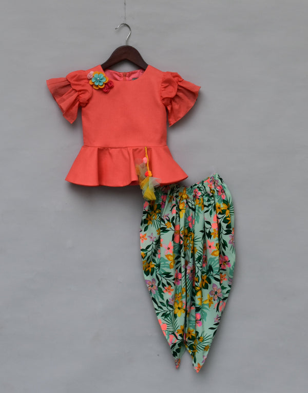 Light Peach Peplum Top with Printed Dhoti