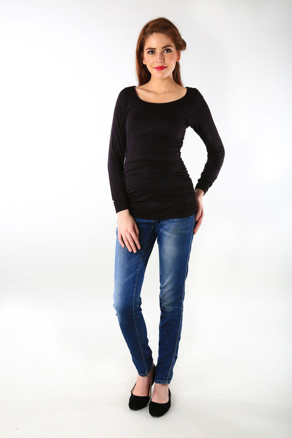 Long Sleeve Gathered Classic Black Maternity Top - MOMZJOY.COM - 1